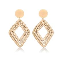 Ethnic Style Earrings Retro Geometric Vine Woven European and American Fashion Exaggerated Handmade Rattan