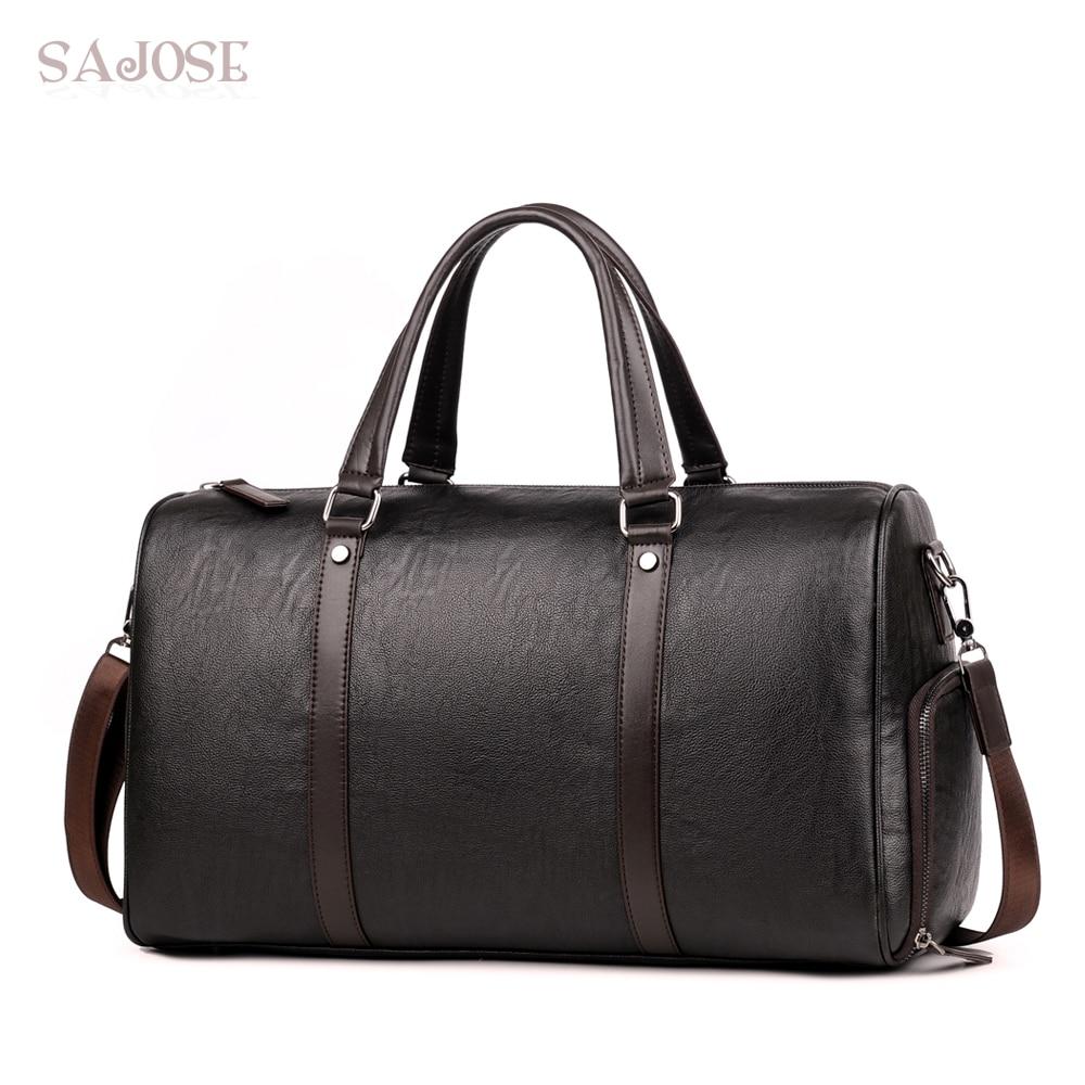 Men Travel Bags Large Capacity Rolling Totes Handbag Leather Brown Mens duffel bag For Short Trip