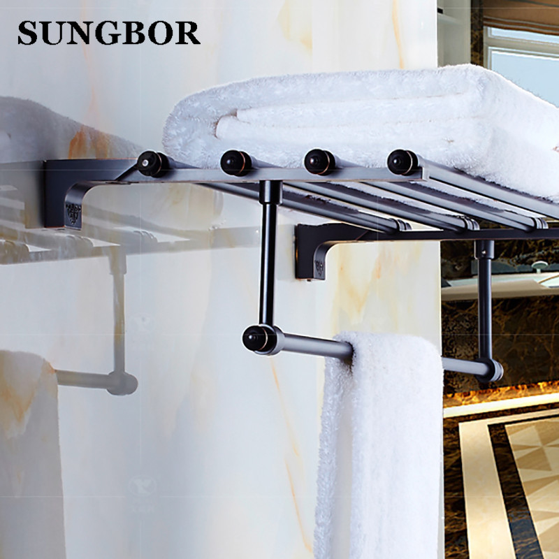 New Towel Rack Luxury Bathroom Accessories Antique black Oil brushed Fixed Bath Towel Holder Shelves Towel Bar Bath Towel hanger bathroom shelves wall mounted towel rack bars bath towel carved holder 2 tier brass bathroom accessories towel tack ssl s22