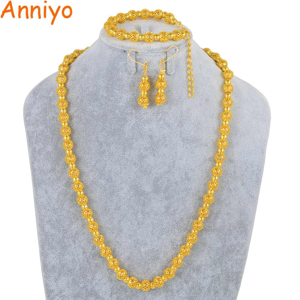 Anniyo Round Balls Jewelry Sets Beads Necklace Bracelet and Earrings for Women Fashion African Party Accessories Bead #158706