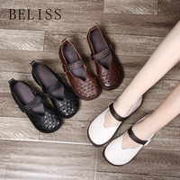 BELISS casual ladies flat shoes hooks circle work driving shoes soft ladies comfortable classic leather shoes women's shoes P6