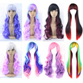 Cheap 11 Styles Long Wavy Rainbow Ombre Color Ladies Synthetic Hair Wig Japanese Kanekalon Fibre Anime Cosplay Wig Peruca