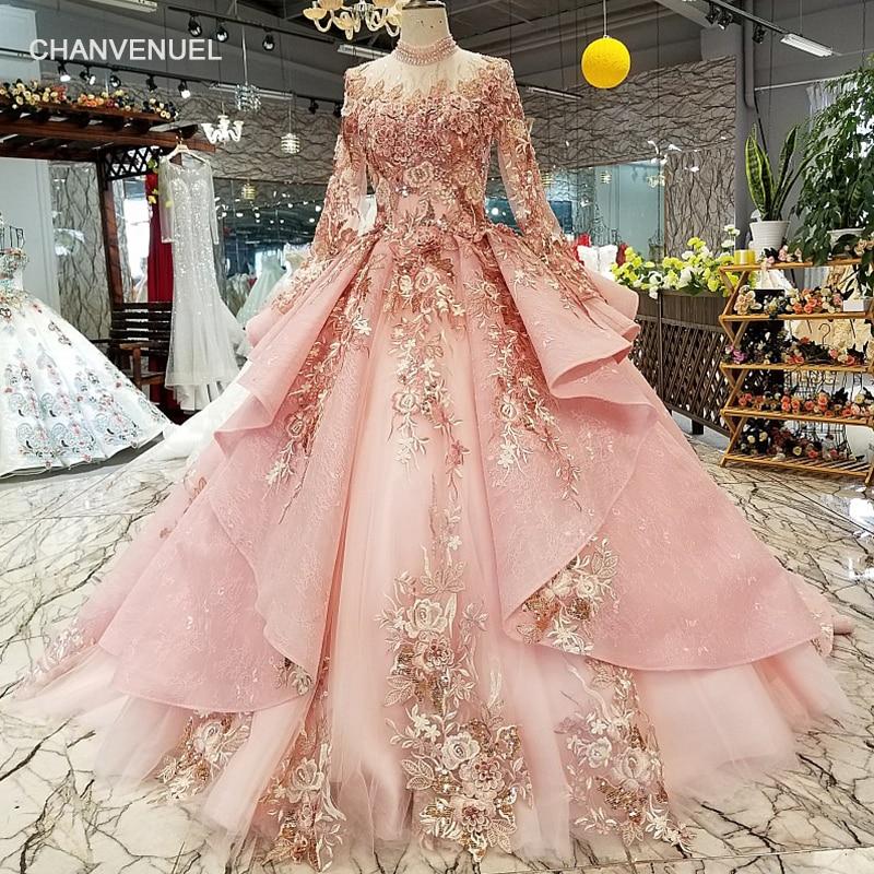Dubai LS320400 especial rosa puffy vestidos de festa alta pescoço longo tule manga rendas acima para trás vestidos de noite pode fazer para muçulmano