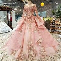 LS320400 розовый специальные Дубай Пышное вечернее платье с высоким воротом Длинные Тюль рукава на шнуровке сзади Вечерние платья может сделат