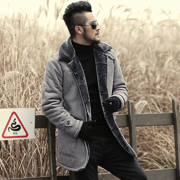 2018 Winter New warm wool fur Leather Garment Casual Faux fur coat & Jacket Mens brand Clothing light grey long Leather Jacket ...