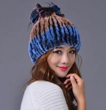 купить Winter Women Mink fur Beanies Ear Protect thick Warm Hat Knitted Elegant Flower Shape Cap New Arrival Fashion Rex Rabbit hat  по цене 1893.24 рублей