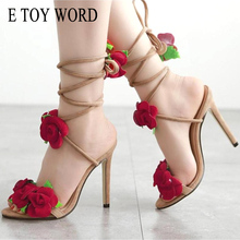 E TOY WORD high heel Sandals red rose flower Cross Bandage  large size womens shoes 42 yards women