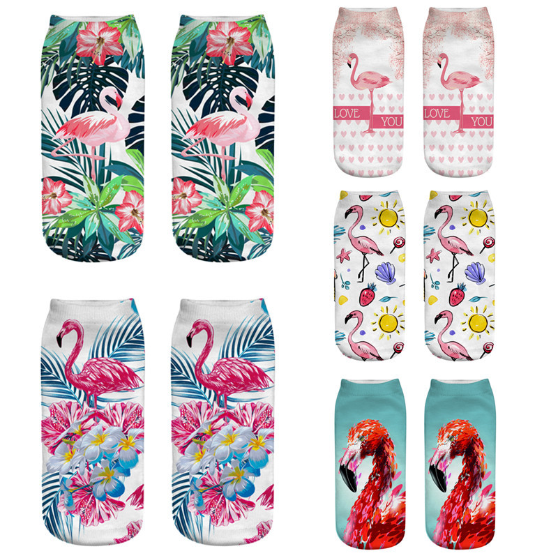 2019 New Funny 3D Print   Socks   Flamingos Oil Painting   Sock   Women Low Cut Ankle   Socks   Fashion Harajuku Cartoon Short Spaort Sox