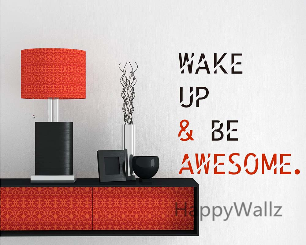 Wake up be awesome motivational quotes wall sticker diy wake up be awesome motivational quotes wall sticker diy inspirational quote wall decals decorative quote wallpaper office q166 in wall stickers from home amipublicfo Images