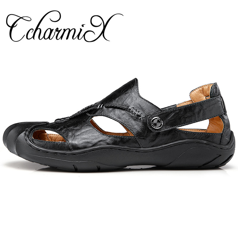 CcharmiX Brand Mens Fisherman Sandals High Quality Black Big Yards Mens  Footwear Outdoor Summer Dress Leather Man Sandles-in Men s Sandals from  Shoes on ... 294a682e3dd9