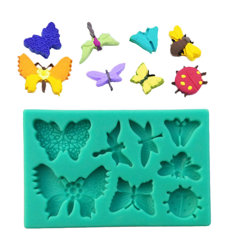 Wholesale 10 Pcs lot 3D Silicone Butterfly Shape Fondant Cake Chocolate Candy Jello Decorating Mold Tools