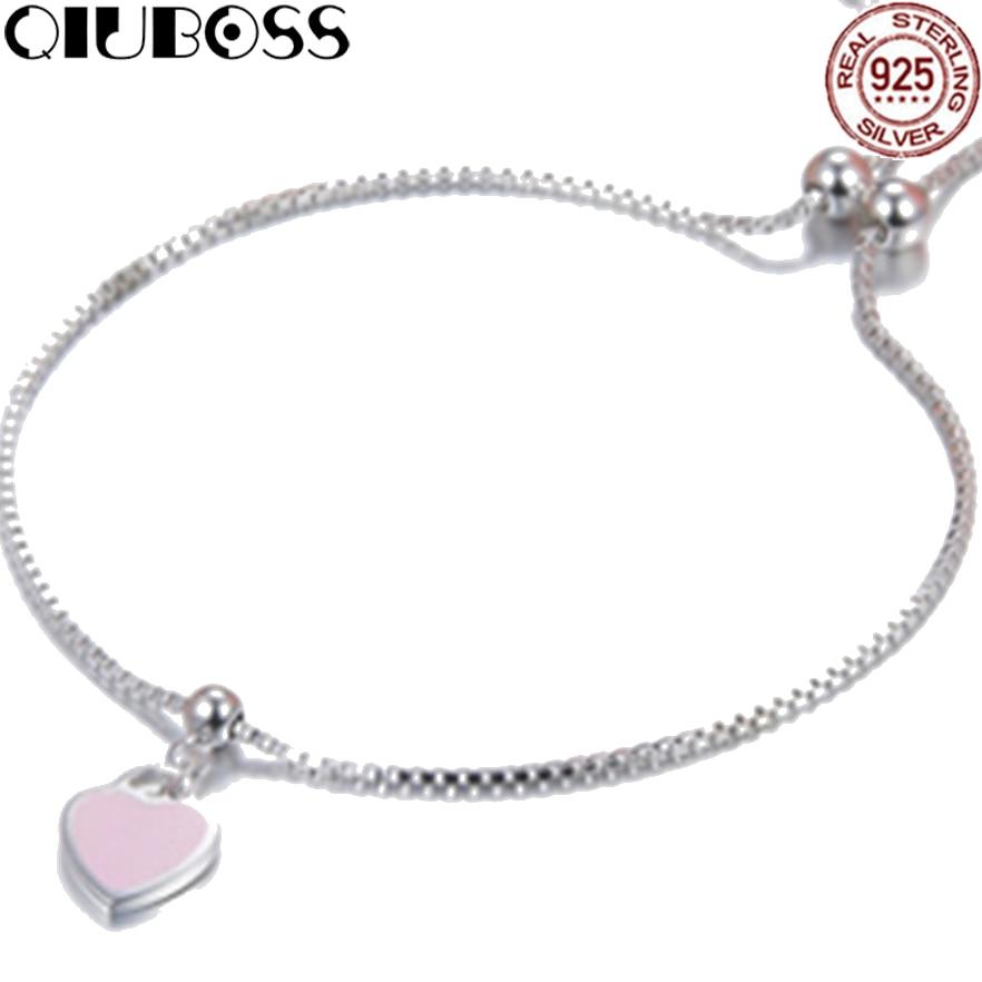 QIUBOSS TIFF 925 Sterling Silver Brand Genuine Pink Heart Bracelet Ms. Charm Bracelet Bracelet DIY Gift Jewelry цена