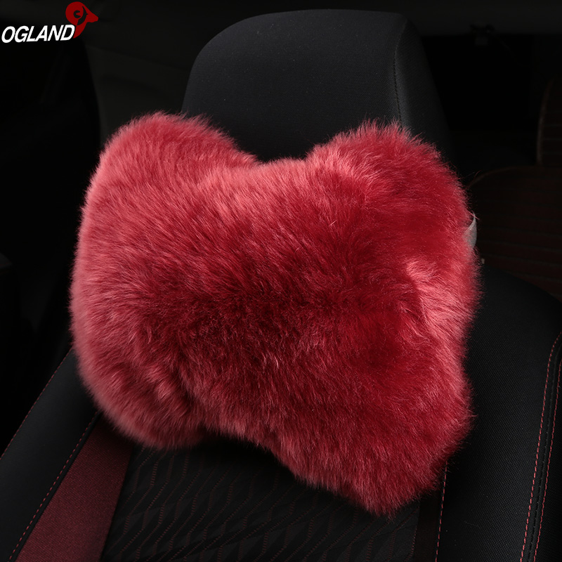 OGLAND Natural Fur Sheepskin Car Head Neck Support Pillow for Auto Seat Accessories Comfortable Shock Absorbing Travel Pillow Black