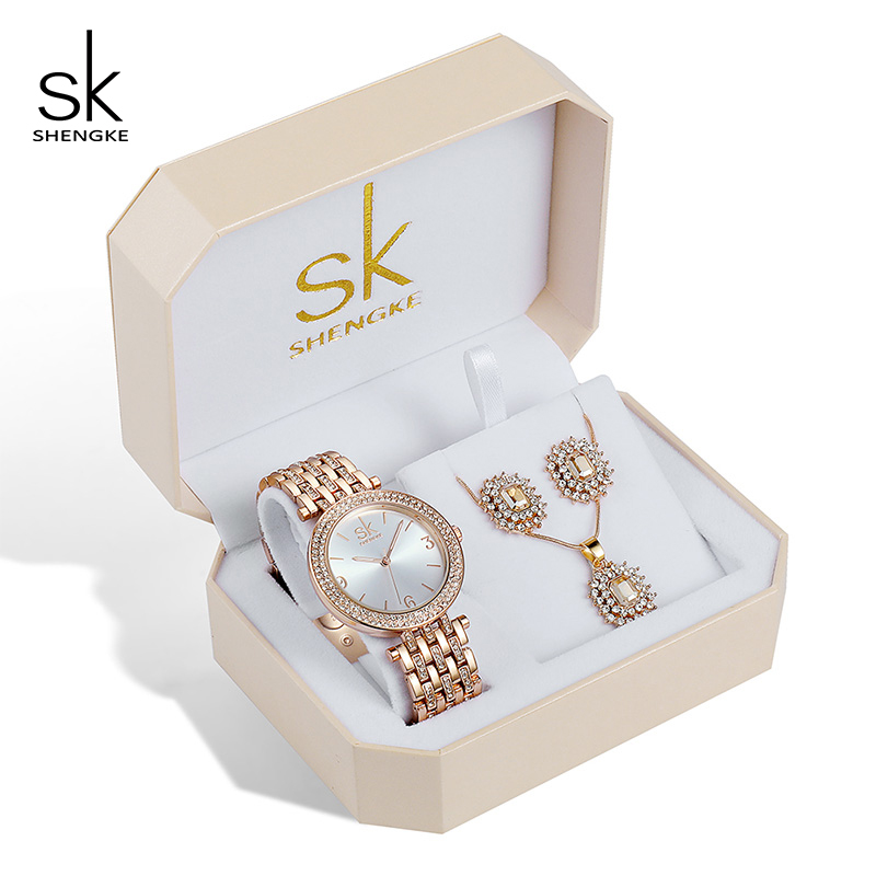 Shengke Rose Gold Watches Women Earrings Necklace Set 2019 SK Creative Ladies Quartz Watches Crystal Jewelry Set For Women