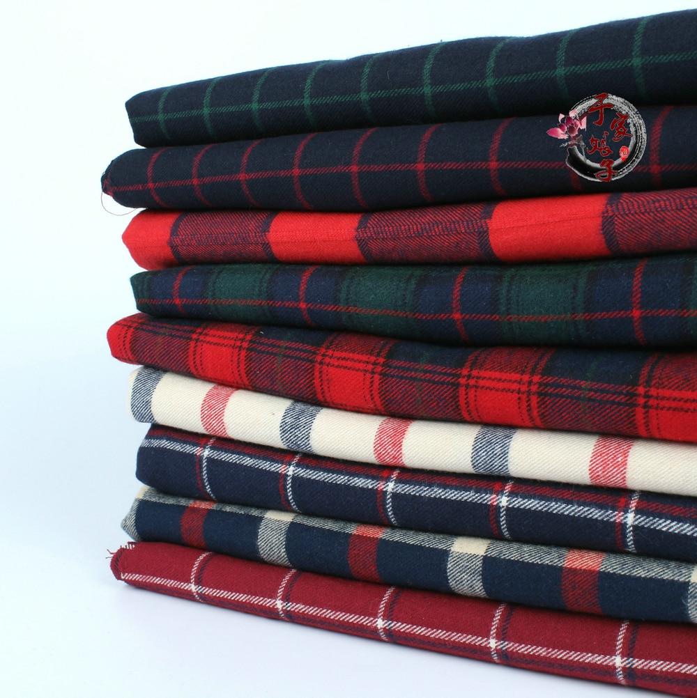 Free shipping 145cm x50cm High quality cotton twill flannel cloth sanding soft fabric and yarn dyed Plaid Shirt cloth 280g/m