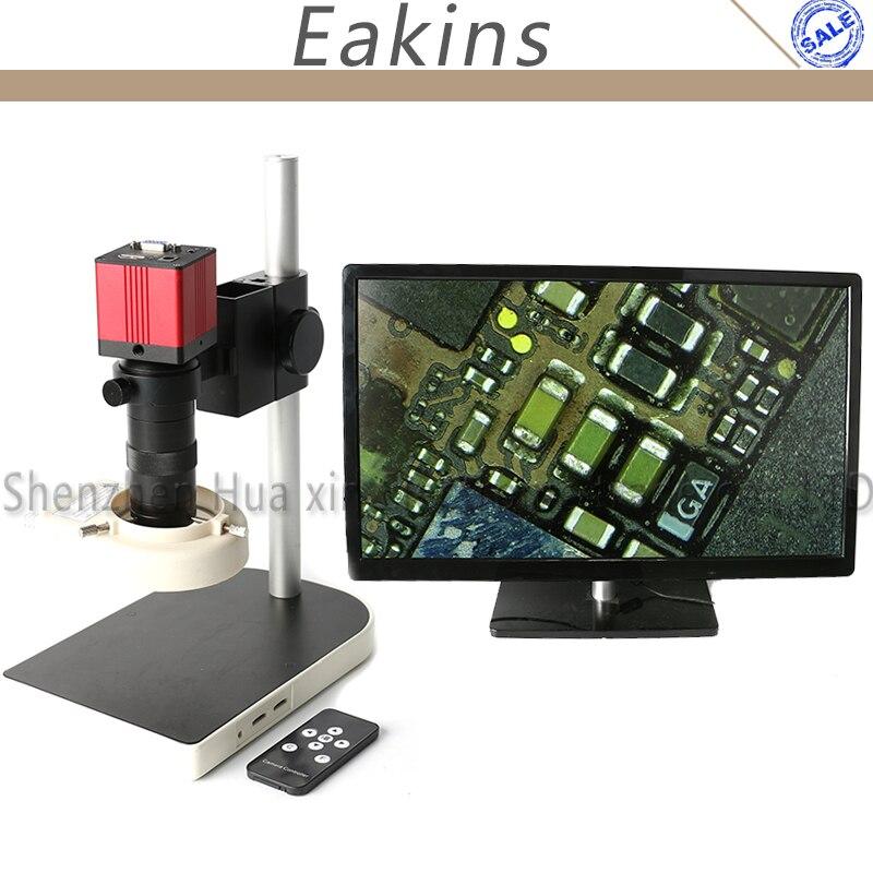 1080 P 60F/S HDMI VGA промышленность видео микроскоп Камера комплект ИК-пульт + подставка + 100X C- крепление объектива + 56 светодиодный свет для телефон...