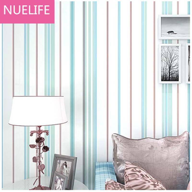 0.53x10m Mediterranean colorful vertical stripes pattern living room children bedroom shop decoration non - woven wallpaper beibehang shop for living room bedroom mediterranean wallpaper stripes wallpaper minimalist vertical stripes flocked wallpaper