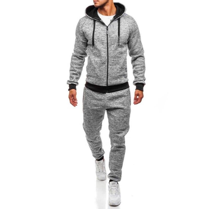 ZOGAA Mens Track Suit Set Casual Hooded Zipper Sweatsuit With Long Pants 2 Piece Set Sportswear Men Clothes 2018