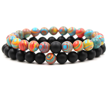 HOBBORN Trendy Women Men Couple Bracelet 8mm Color Natural Stone Matte Black Onyx Healing Reiki Prayer Bracelets Set Cruz