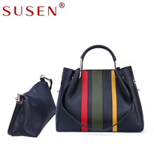 SUSEN 2 sets women handbag   high quality artificial leather office bag female fashion 3 colors patchwork tote ladies handbags