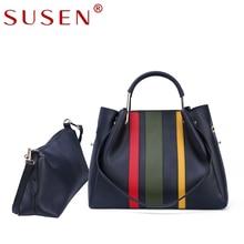 SUSEN 2 sets women handbag   high quality artificial leather office bag female fashion 3 colors patchwork tote ladies handbags