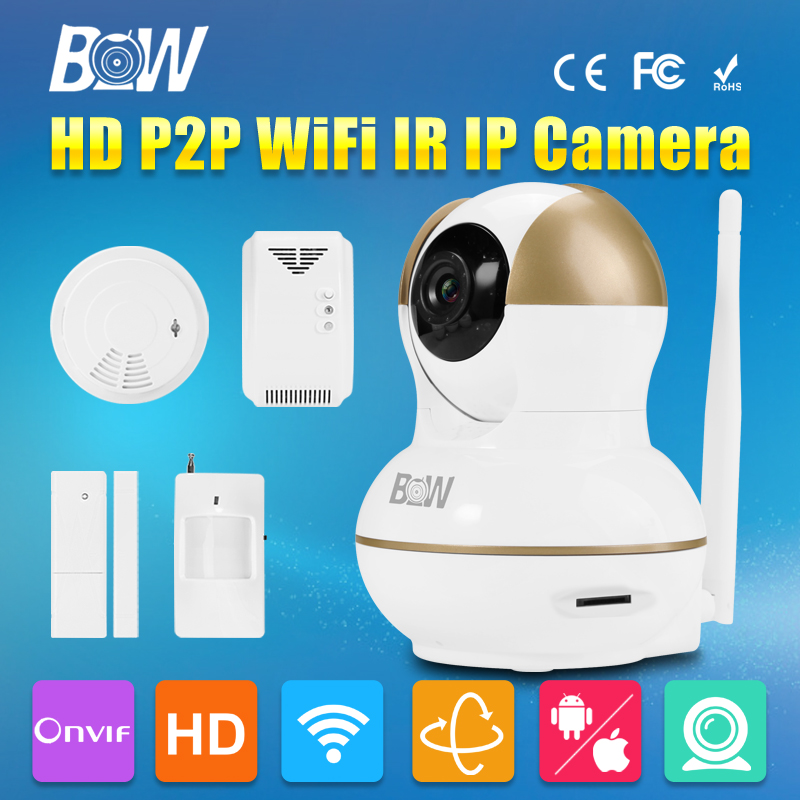 BW Wireless CCTV HD 720P IP Camera Wifi P2P with Alarm Function Door Sensor,IR/Smoke/Gas Detectors Remote Controller Security bw wireless wifi door
