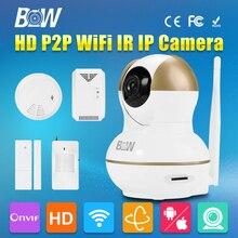 BW CCTV HD 720 P Cámara IP Wifi P2P Inalámbrico con Función de Sensor de Puerta de Alarma, IR/Humo/Mando a distancia de Seguridad Detectores de gas