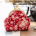 Original Pure Handmade Cotton Small Coin Purse Women Retro Classy Leisure Mini Clutch Bag Ladies Geometric Printing Key Card Bag