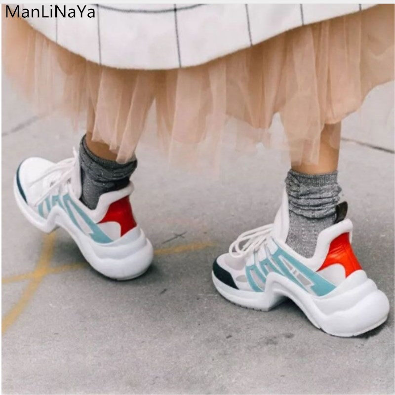 Brand Designer Lace Up Trainers Woman Real Leather Mesh Tennis Women Casual Shoes Mixde Colors Women Shoes Sneakers Platform2019