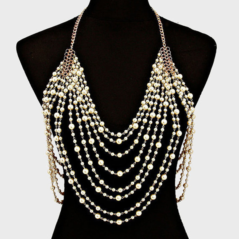 Multi Layer Pearl Necklace Big Pearl Necklace Statement Women Jewelry Gold Chain Necklace Choker Tassel Gold Jewelry Bodychain цена 2017