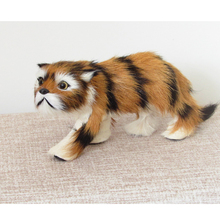 simulation tiger toy 18x8cm fur model home decoration gift h1409