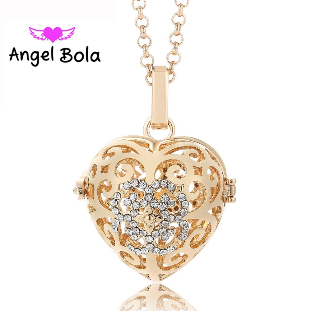 10Pcs/Wholesale Metal Heart Angel Bola Ball Essential Oil Cage Pendant Long Chain Aromatherapy Necklace for Mom Gifts L086