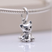 925 Sterling Silver Beads fit Original Pandora Bracelet Sweet Cat Charm For Women Silver Gift Beads for Jewelry Making