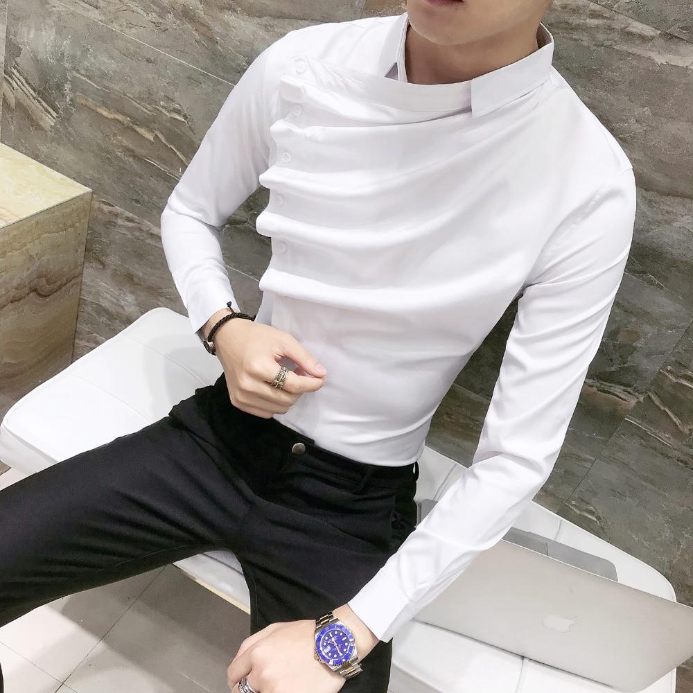 Autumn Men Shirt Fashion 2019 Korean Slim Fit Dress Shirts Mens Long Sleeve Front Fold Design Night Club Tuxedo Shirt Men 3XL-M 2