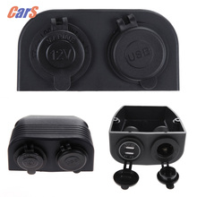 Car Charger Dual USB Car Chargers + Cigarette Lighter Socket Splitter Power for iphone/Bluetooth headsets