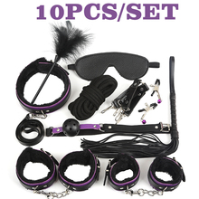 New Purple Plus fluff 7/10 BDSM Sex Bondage Set HandCuffs Footcuff Whip Rope Blindfold Plug Erotic Toys For Couples Sexy
