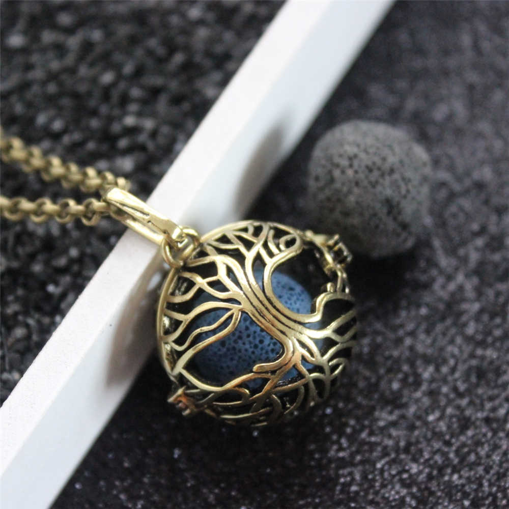 Vintage Bronze Tree of Life Copper Mexico Bola Open Locket Essential Oil Diffuser Necklace Aroma Necklace with Lava Stone