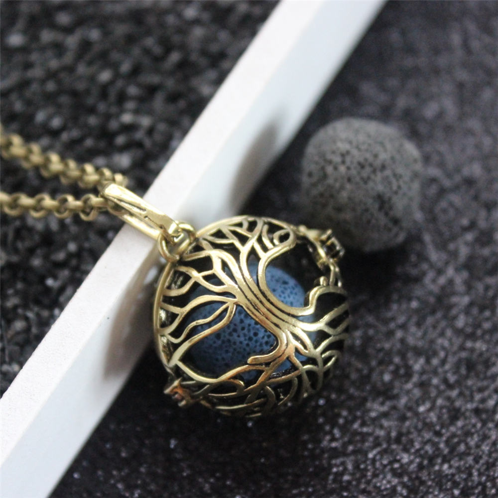 1PC Vintage Bronze Hollow Tree Of Life Copper Mexican Bola Open Locket Essential Oil Aroma Perfume Diffuser Pendant Necklace locket