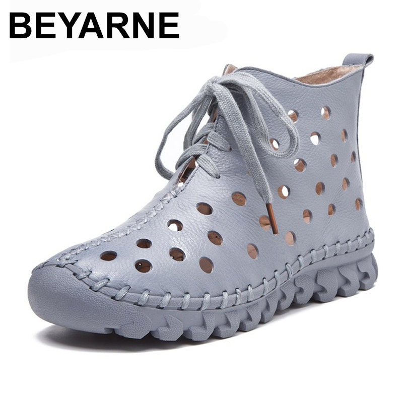 BEYARNE New Design Summer Women Boots Soft Genuine Leather Ankle Boots For Women Casual Shoes Breathable