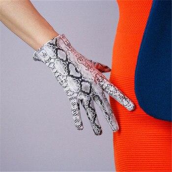 Snakeskin Gloves 21cm Short Style Patent Leather Emulation Leather Bright Leather Animal Python Snake Silver Snake Female WPU108 snake