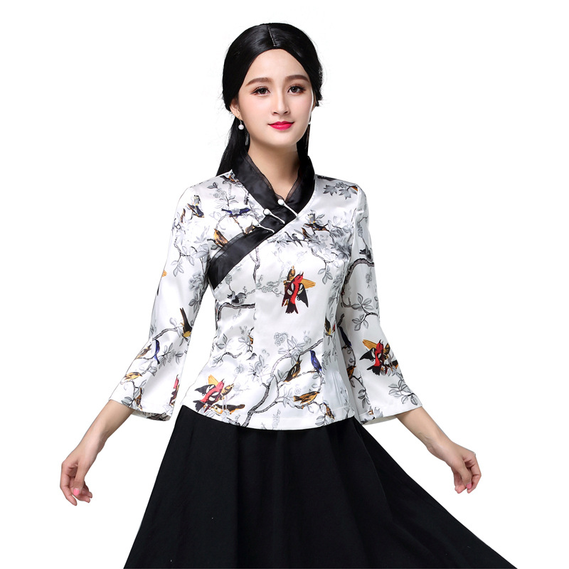 Sexy Satin Flower Women Shirt Vintage Improved Blouse Top Elegant Summer New Lady Clothing Chinese Folk Style Girl Clothes S 3XL