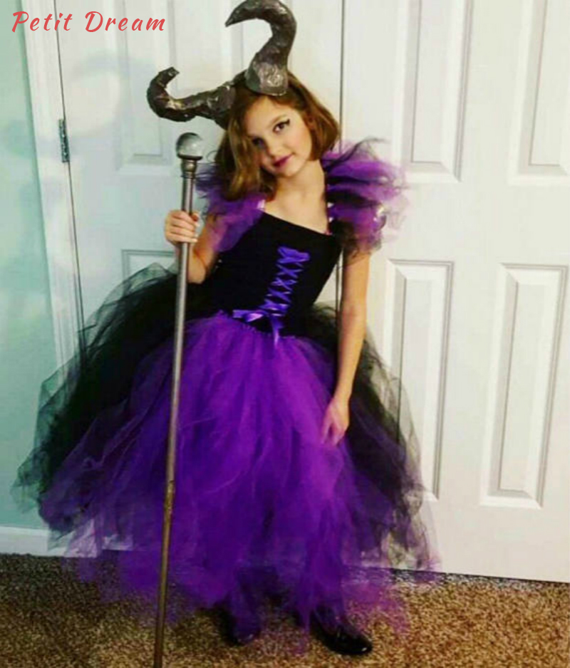 Petit Dream Purple and Black Kids Girls Witch Cosplay Dresses Maleficent Villain Toddler Baby Girls Tutu Dress Party Costume petit dream purple and black kids girls witch cosplay dresses maleficent villain toddler baby girls tutu dress party costume