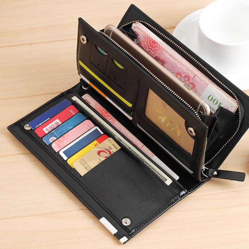 Luxury Zipper Men Wallets Genuine Leather Men Purses  Brand Soft Mens Clutch Wallet Bifold Male Money Bag Multi-card Slot