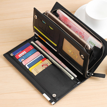 купить Luxury Zipper Men Wallets Genuine Leather Men Purses  Brand Soft Mens Clutch Wallet Bifold Male Money Bag Multi-card Slot по цене 516.09 рублей