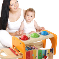 Wooden Toddler Slide Out Instruments Musical Pounding Toy Educational Knock Ball Multifunctional Xylophone Pound And Tap