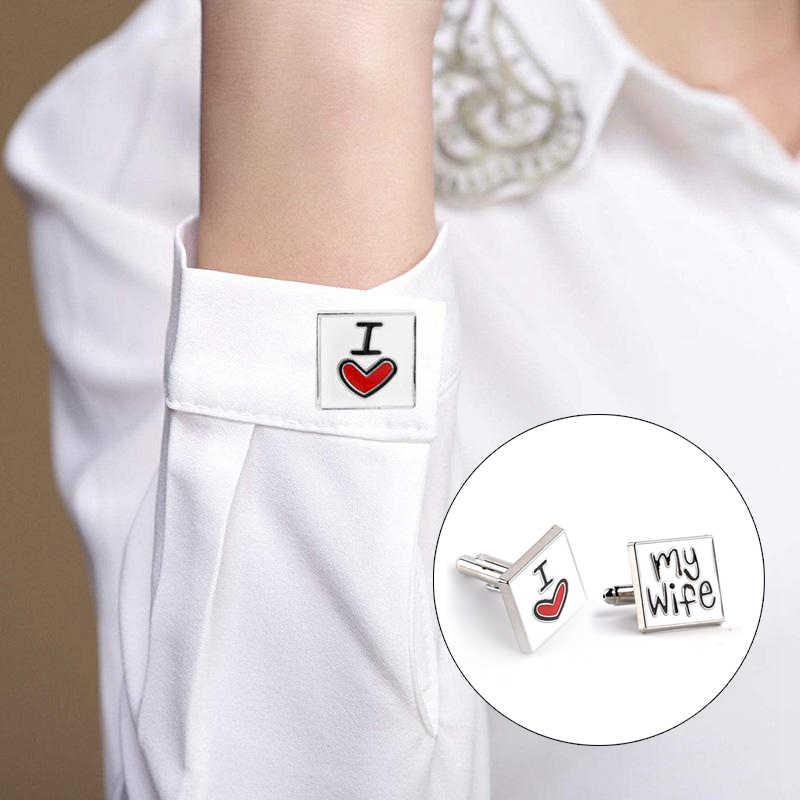 Новые модные мужские Запонки я люблю свою жену дизайн хороший муж запонки Для мужчин рубашка Шарм запонки из цинкового сплава 8C1735