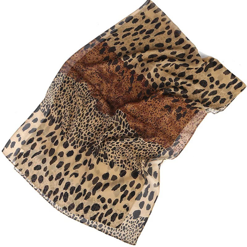 Women Silk   Scarf   Leopard Print Head   Scarves     Wraps   Luxury Brand Quality Female Foulard Satin Shawls Chiffon Hijab