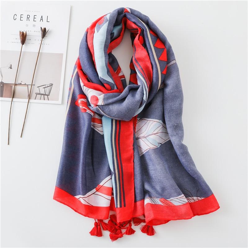 Women Antumn Winter Tassel   Scarf   Print Feather Viscose   Scarves     Wrap   Long Pashmina Shawls Hijab Muslim Headband Foulard 180*100Cm