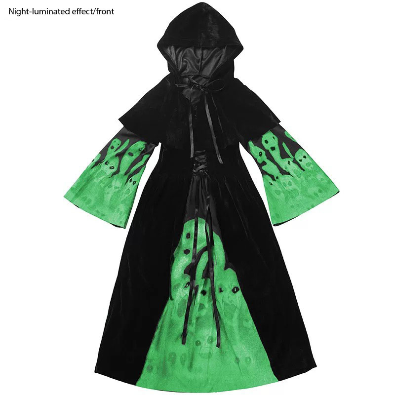 Child Girls Halloween Hooded Gown Robe Dress Lighting Glow Skull Joke Trick Costume Horror Scary Witch Vampire Outfit For Kids