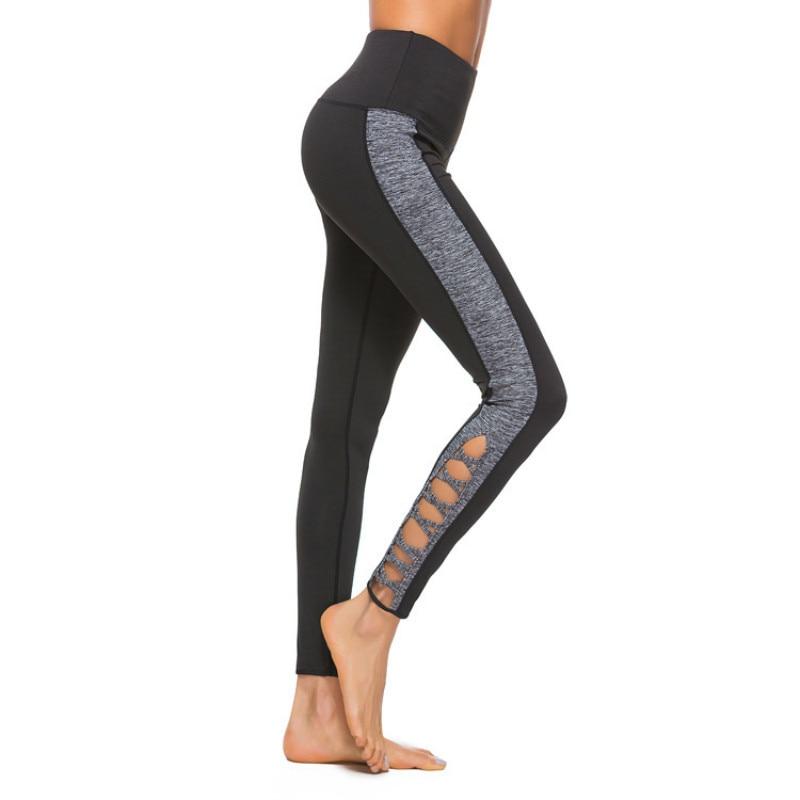 OVESPORT Patchwork Stripe Crossing Women Leggins Sport Fitness For Women Workout Elastic Mid Waist Trousers Quick Dry Yoga Pants